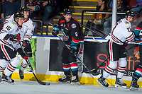 KELOWNA, CANADA - OCTOBER 20: Jack Cowell #8 of the Kelowna Rockets looks for the pass against the Portland Winterhawks on October 20, 2017 at Prospera Place in Kelowna, British Columbia, Canada.  (Photo by Marissa Baecker/Shoot the Breeze)  *** Local Caption ***
