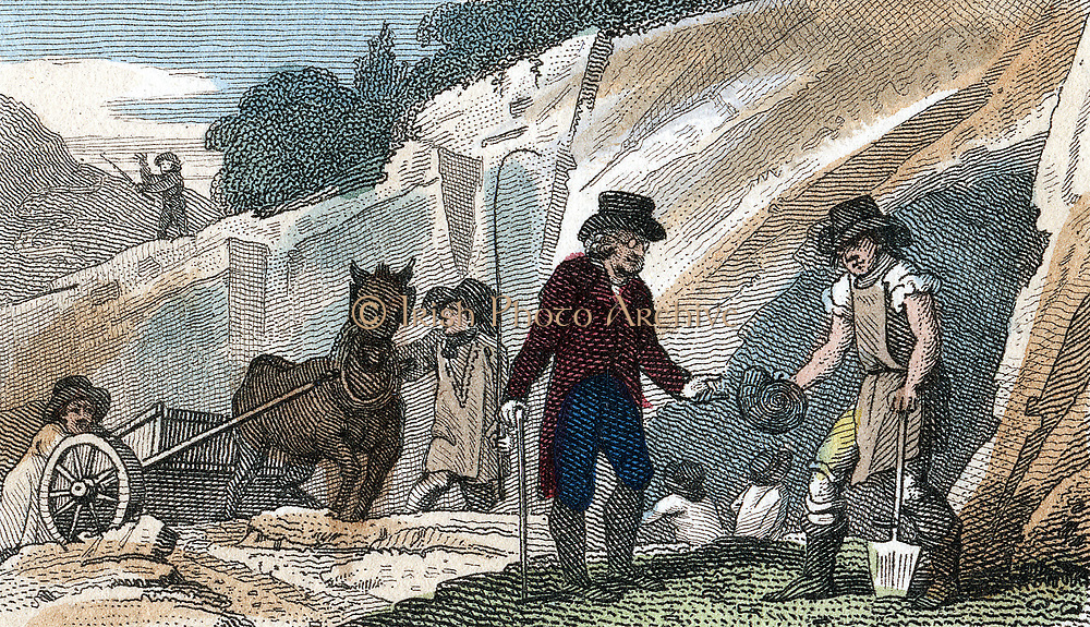 Fossil hunting in Cherry Hinton chalk pit, Cambridgeshire. One of quarry workers is handing a find, an ammonite perhaps, to a gentleman collector. Hand-coloured engraving from  the Rev. Isaac Taylor 'Scenes in England', Ongar, 1822.