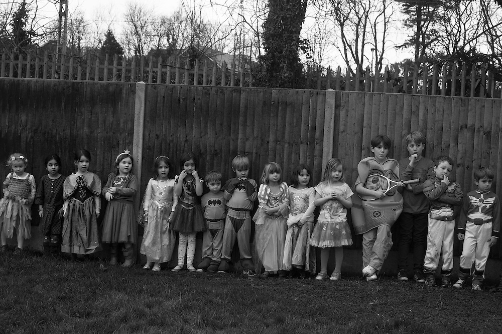 Children wearing costumes line up for a race during a fancy dress party game at the Tennis club in Berkhamsted in England Saturday, Feb. 14, 2015 (Elizabeth Dalziel) #thesecretlifeofmothers #bringinguptheboys #dailylife