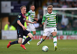 Aston Villa's Jake Hayes and Yeovil Town's Alex Pattison during the Carabao Cup, First Round match at Huish Park, Yeovil.