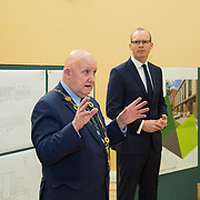 24.04.2017.       <br /> Minister for Housing Simon Coveney visiting the Moyross Community Centre, Limerick announcing funding of &euro;3 million for a refurbishment of the centre​. <br /> <br /> Pictured at the event was Cllr. Kieran O'Hanlon, Mayor Limerick City and County and Minister for Housing Simon Coveney. Picture: Alan Place.