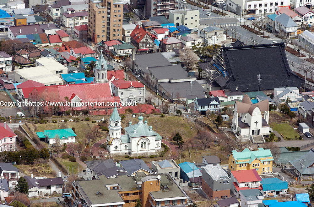 View of many churches in Hakodate town on Hokkaido Island in Japan
