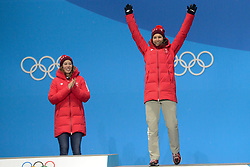 February 22, 2018 - Pyeongchang, South Korea - WENDY HOLDENER of Switzerland celebrates getting the bronze medal in the Ladies' Combined Alpine Slalom skiing event in the PyeongChang Olympic Games. (Credit Image: © Christopher Levy via ZUMA Wire)