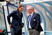 Peterborough United manager Steve Evans and Wycombe Wanderers manager Gareth Ainsworth chatting before the EFL Sky Bet League 1 match between Wycombe Wanderers and Peterborough United at Adams Park, High Wycombe, England on 3 November 2018.