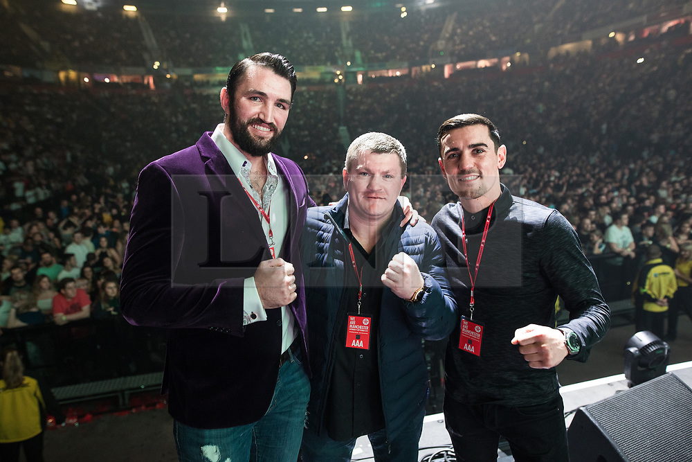 © Licensed to London News Pictures . 09/09/2017. Manchester , UK . Hughie Fury , Ricky Hatton , Anthony Crolla on the stage . We Are Manchester reopening charity concert at the Manchester Arena with performances by Manchester artists including  Noel Gallagher , Courteeners , Blossoms and the poet Tony Walsh . The Arena has been closed since 22nd May 2017 , after Salman Abedi's terrorist attack at an Ariana Grande concert killed 22 and injured 250 . Money raised will go towards the victims of the bombing . Photo credit: Joel Goodman/LNP