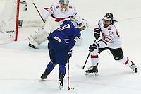 Damien Felury / Eric Blum - 03.05.2015 - France / Suisse - Championnat du Monde de Hockey sur Glace -Prague <br />Photo : Xavier Laine / Icon Sport
