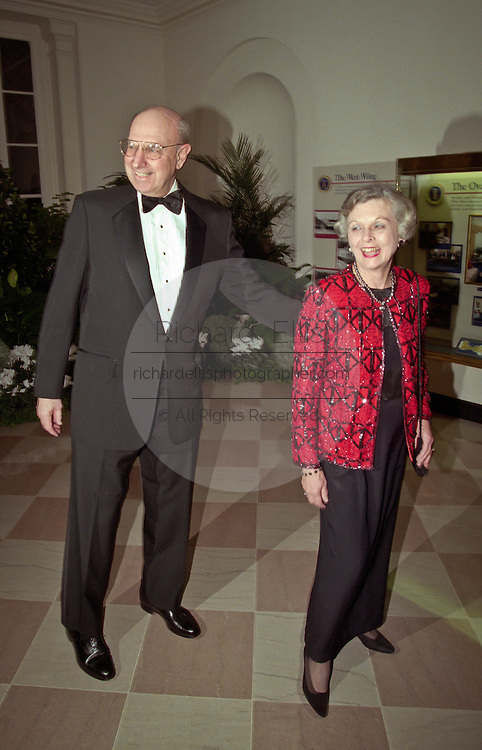 Ambassador Thomas Pickering and wife Alice arrive for the State Dinner for Argentine President Carlos Menem January 11, 1999 at the White House.