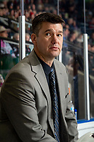 KELOWNA, BC - DECEMBER 18: Vancouver Giants head coach, Michael Dyck stands on the bench against the Kelowna Rockets at Prospera Place on December 18, 2019 in Kelowna, Canada. (Photo by Marissa Baecker/Shoot the Breeze)