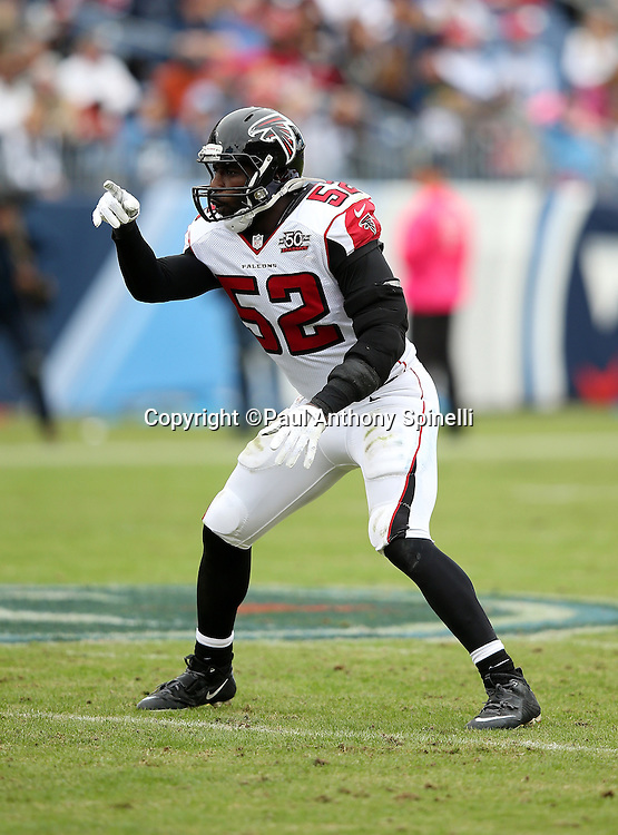 Atlanta Falcons linebacker Justin Durant (52) points during the 2015 week 7 regular season NFL football game against the Tennessee Titans on Sunday, Oct. 25, 2015 in Nashville, Tenn. The Falcons won the game 10-7. (©Paul Anthony Spinelli)
