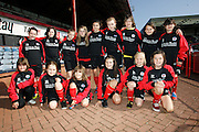 Monifieth Ladies under 13s and under 15s pictured before playing on Dens Park at half time of Dundee v Motherwell, Clydesdale Bank Scottish Premier League at Dens Park.. - © David Young - 5 Foundry Place - Monifieth - DD5 4BB - Telephone 07765 252616 - email: davidyoungphoto@gmail.com - web: www.davidyoungphoto.co.uk