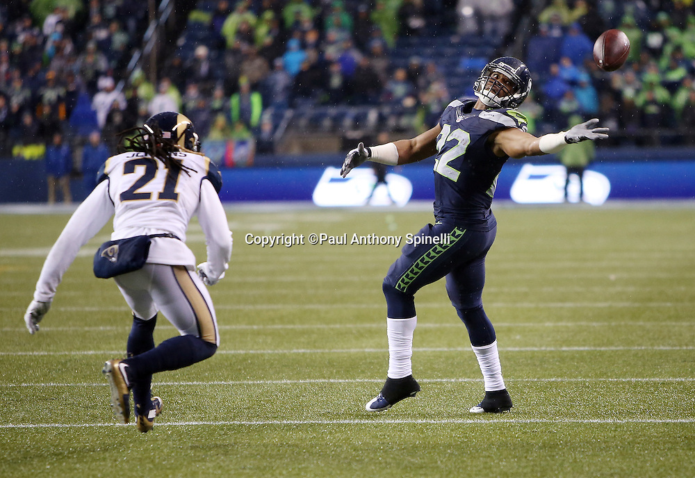 Seattle Seahawks running back Fred Jackson (22) tries to catch a pass with one hand during the 2015 NFL week 16 regular season football game against the St. Louis Rams on Sunday, Dec. 27, 2015 in Seattle. The Rams won the game 23-17. (©Paul Anthony Spinelli)