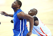Kevin Seraphin in action for France. France v Ivory Coast, On the road to London Tour, Basketball friendly, Palais des Sport, 29th June 2012/