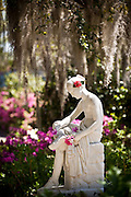Wood Nymph Statue at Middleton Place Plantation in Charleston, SC. .Middleton Place Garden is the oldest formal garden in the United States, dating back to around 1741.