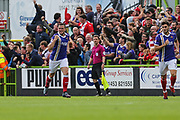 Exeter City's Pierce Sweeney(2) scores a goal 0-1 and celebrates during the EFL Sky Bet League 2 match between Forest Green Rovers and Exeter City at the New Lawn, Forest Green, United Kingdom on 9 September 2017. Photo by Shane Healey.