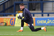 AFC Wimbledon goalkeeper Joe McDonnell (24) warming up during the EFL Sky Bet League 1 match between AFC Wimbledon and Luton Town at the Cherry Red Records Stadium, Kingston, England on 27 October 2018.