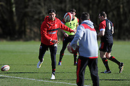 Mike Phillips of Wales throws the ball straight at coach Rob Howley. Wales rugby team training and press conference at the Vale, Hensol near Cardiff, South Wales on Thursday 14th March 2013.  the team are training ahead of the final RBS Six nations match against England this weekend. pic by  Andrew Orchard, Andrew Orchard sports photography,