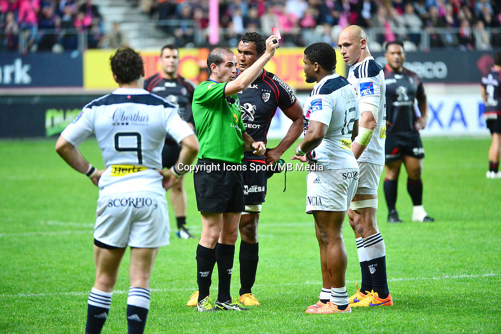 Alexandre RUIZ / Jonathan DANTY carton rouge - 24.04.2015 - Stade Francais / Stade Toulousain - 23eme journee de Top 14<br />Photo : Dave Winter / Icon Sport