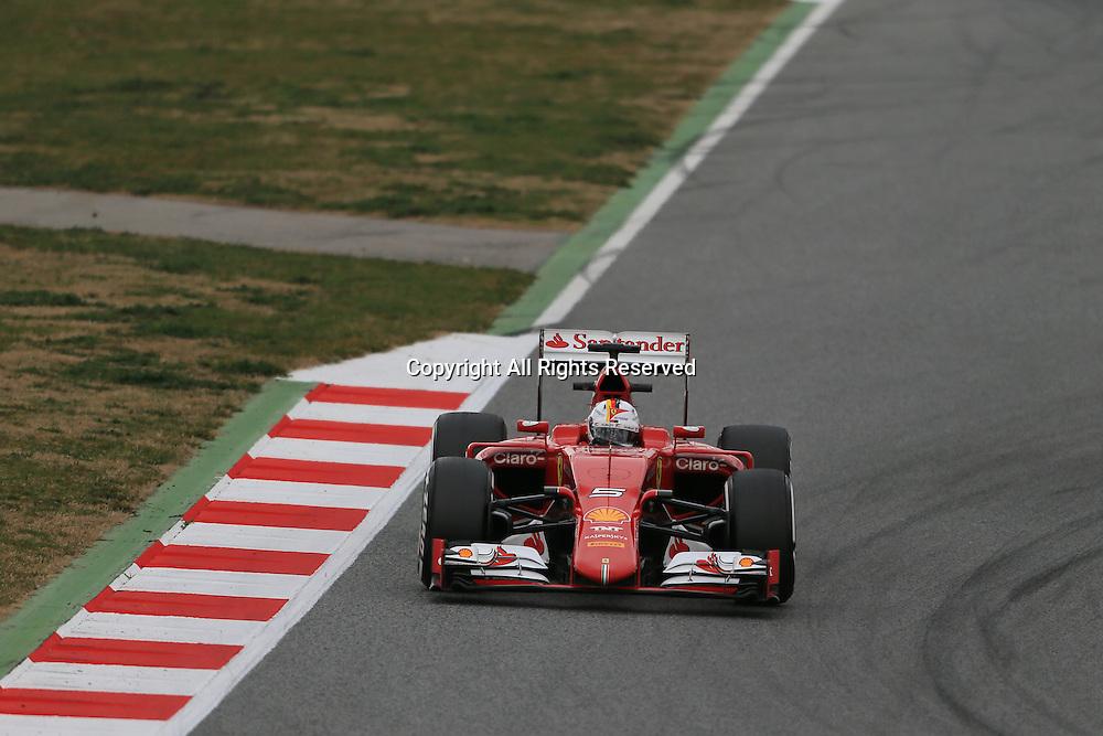 21.02.2015. Barcelona, Spain.  Scuderia Ferrari driver  Sebastian Vettel takes to the circuit during day 3 of the BCN test