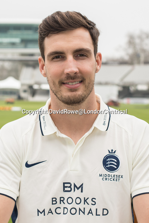 11 April 2018, London, UK.  Steve Finn of Middlesex County Cricket Club in the County Championship white kit .