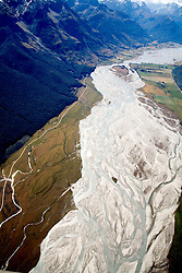 Otago District: An aerial view of the Dart River as it braids its way through the Glenorchy/Paradise Valley area northwest of Queenstown.
