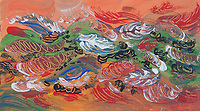 abstract multicolored feathers floating on orange background with shades