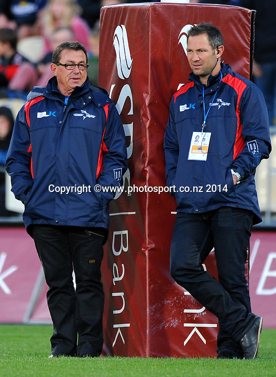 Tasman Makos player coaches L-R Kieran Keane and Leon McDonald during their ITM Cup game Tasman Makos v Canterbury. AMI Stadium, Addington, Christchurch, New Zealand. Saturday 4 October 2014. Photo: Chris Symes/www.photosport.co.nz