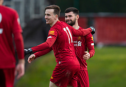 LIVERPOOL, ENGLAND - Monday, February 24, 2020: Liverpool's Liam Millar (C) celebrates scoring the first goal during the Premier League Cup Group F match between Liverpool FC Under-23's and AFC Sunderland Under-23's at the Liverpool Academy. (Pic by David Rawcliffe/Propaganda)