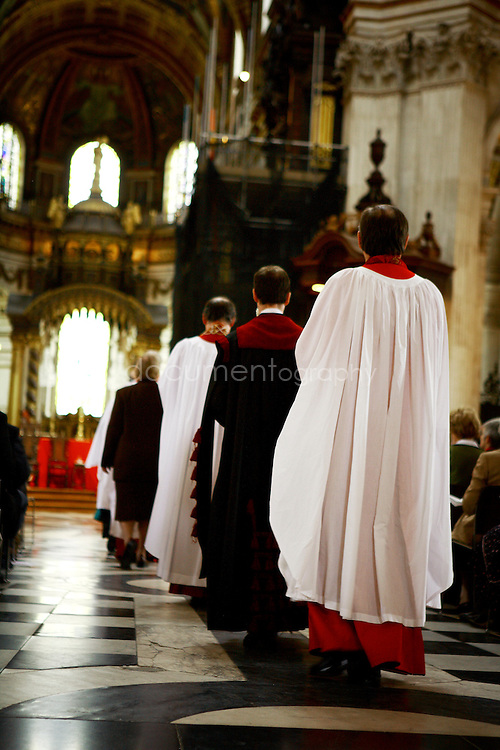 Bishops walk in the cathedral during the Consecration of the Bishop of Repton at St Paul's .