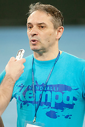Tone Tiselj, coach of Slovenia after handball match between Women National Teams of Slovenia and Czech Republic of 4th Round of EURO 2012 Qualifications, on March 25, 2012, in Arena Stozice, Ljubljana, Slovenia. (Photo by Urban Urbanc / Sportida.com)