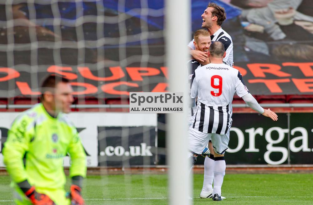Dunfermline Athletic v Stranraer SPFL League One Season 2015/16 East End Park 29 August 2015<br /> Andy Geggan celebrates after scoring the 3rd goal<br /> CRAIG BROWN | sportPix.org.uk