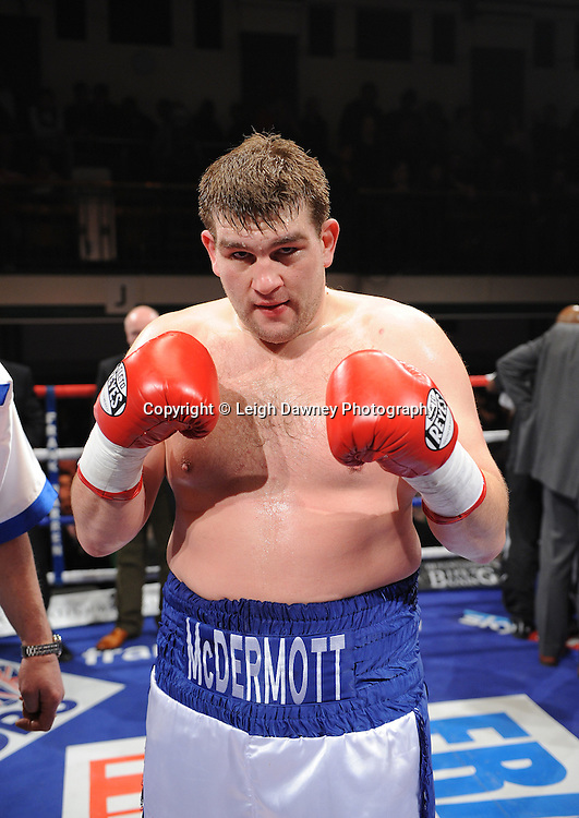 BBBofC Southern Area Heavyweight Title. John McDermott (pictured) defeats Larry Olubamiwo at York Hall, Bethnal Green, London on the 19th February 2011. Frank Warren Promotions. Photo credit © Leigh Dawney.