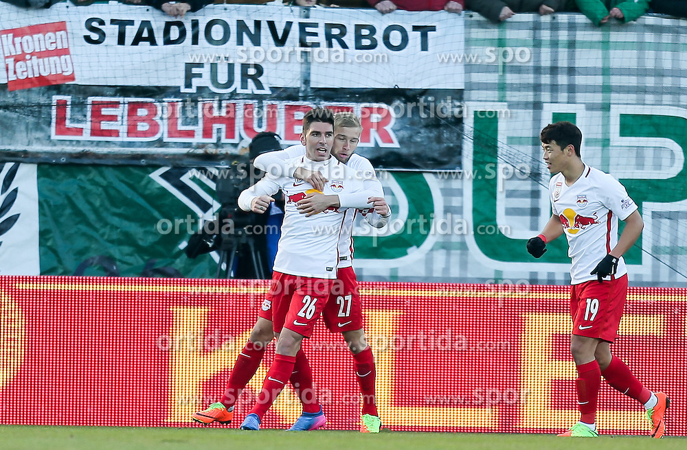 19.02.2017, Keine Sorgen Arena, Ried, AUT, 1. FBL, SV Guntamatic Ried vs Red Bull Salzburg, 22. Runde, im Bild Jubel zum 0:1 // during the Austrian Football Bundesliga 22th Round match between SV Guntamatic Ried and Red Bull Salzburg at the Keine Sorgen Arena in Ried, Austria on 2017/02/19. EXPA Pictures © 2017, PhotoCredit: EXPA/ Roland Hackl