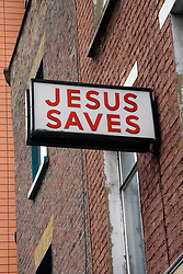 Jesus saves sign on church Paddington London UK