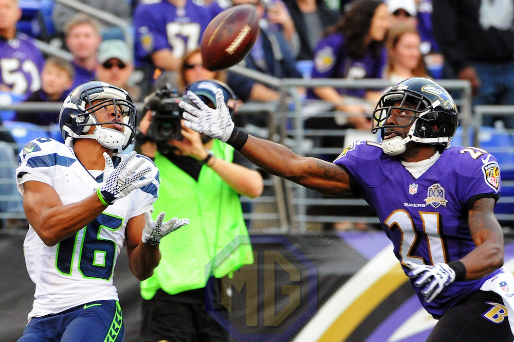 13 December 2015:   Seattle Seahawks wide receiver Tyler Lockett (16) catches a 49 yard touchdown pass against Baltimore Ravens cornerback Lardarius Webb (21) at M&T Bank Stadium, in Baltimore, MD. where the Seattle Seahawks defeated the Baltimore Ravens, 35-6.  (Photograph by Mark Goldman/Icon Sportswire)