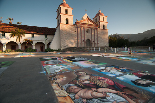 I Madonnari festival at historic Santa Barbara Mission
