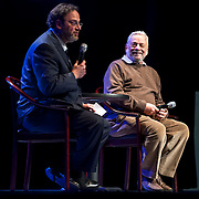"""March 9, 2013 - New York, NY : Mark Eden Horowitz, left, speaks with composer Stephen Sondheim during the intermission of  """"Liaisons II: Re-Imagining Sondheim From the Piano,"""" a series of Stephen Sondheim-inspired piano works performed by pianist Anthony De Mare, at Symphony Space in Manhattan on Saturday night. CREDIT: Karsten Moran for The New York Times"""