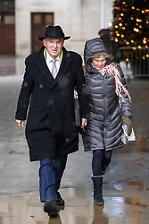 © Licensed to London News Pictures. 10/12/2017. London, UK. Leader of the Liberal Democrats Vince Cable and Rachel Smith leaving BBC Broadcasting House this morning. Photo credit : Tom Nicholson/LNP