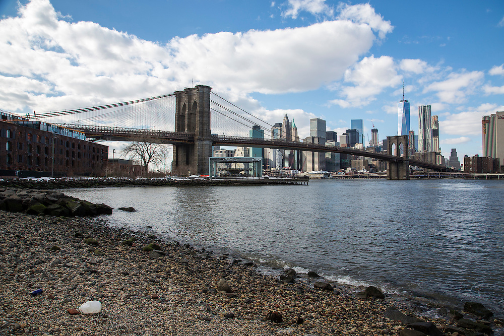The iconic Brooklyn Bridge across the East River with view of Downtown Manhattan sky scrapers as seen from Main Street Park, Dumbo, Brooklyn, New York City, United States of America.  (photo by Andrew Aitchison / In pictures via Getty Images)