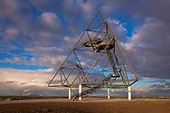 the walkable tetrahedron on the heap Emscherblick, 50 meter high observation deck, steel pyramid, Bottrop, Germany.<br /> <br /> der begehbare Tetraeder auf der Halde Emscherblick, 50 Meter hohe Aussichtsplattform, Stahlpyramide, Bottrop, Deutschland.