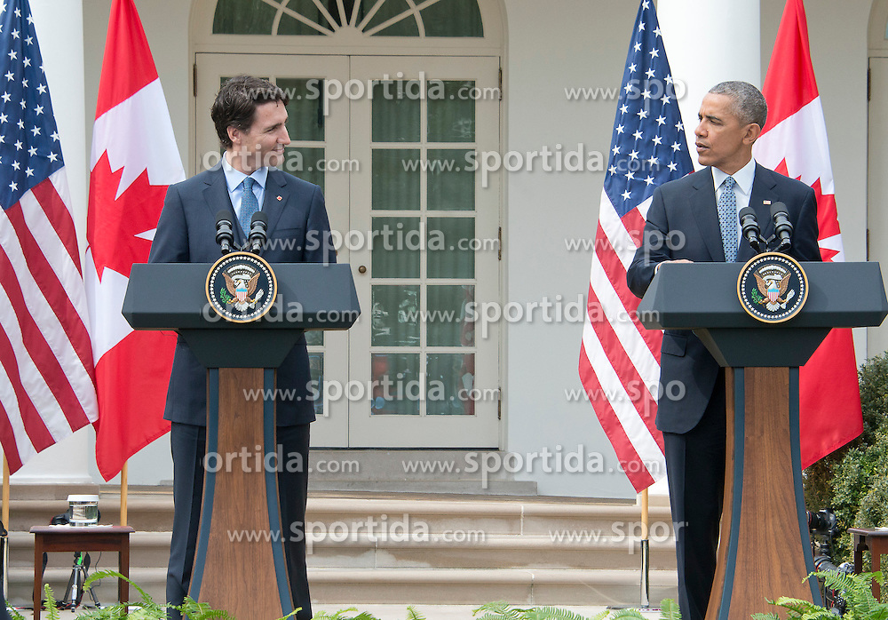 United States President Barack Obama, right, and Prime Minister Justin Trudeau of Canada, left, hold a joint press conference in the Rose Garden of the White House in Washington, DC on Thursday, March 10, 2016. EXPA Pictures &copy; 2016, PhotoCredit: EXPA/ Photoshot/ Ron Sachs<br /> <br /> *****ATTENTION - for AUT, SLO, CRO, SRB, BIH, MAZ, SUI only*****