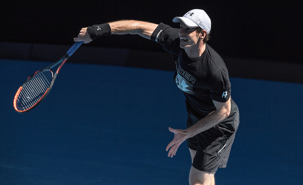 Andy Murray of Great Britain practices ahead of the 2017 Australian Open at Melbourne Park on January 12, 2017 in Melbourne, Australia.<br /> (Ben Solomon/Tennis Australia)