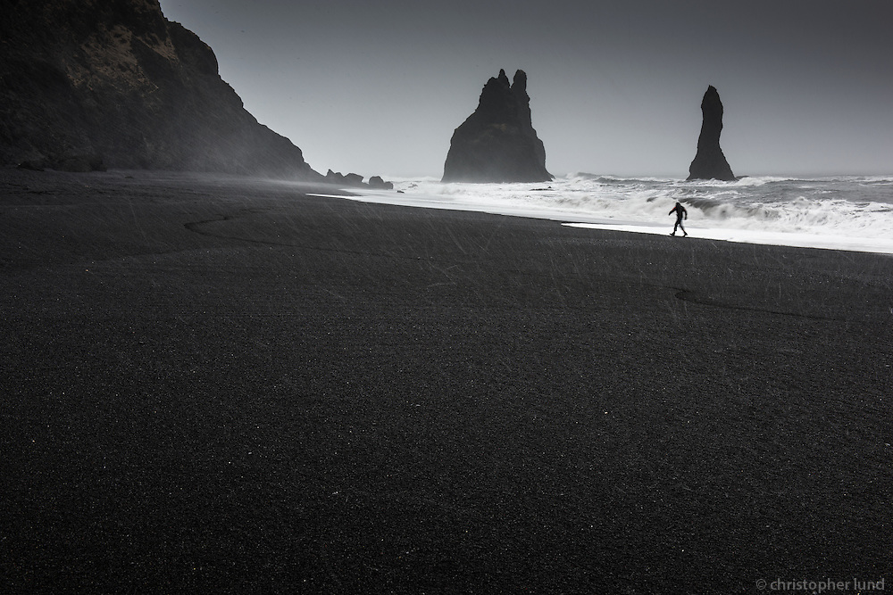 Reynisfjara black sand beach with Reynisdrangar sea stacks in background. South Iceland.