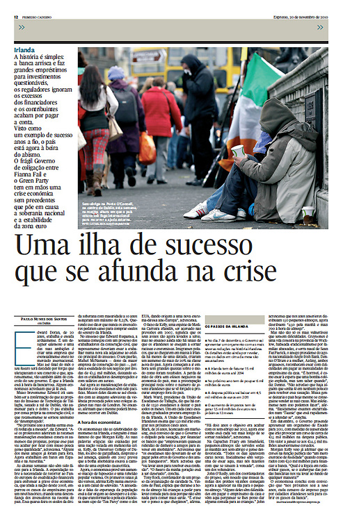 "Tearsheet of ""Irlanda: Uma ilha de sucesso que se afunda na crise"" published in Expresso"
