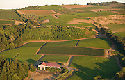 Aerial view over Cristom Winery, Eola Hills AVA, Willamette Valley, Oregon