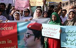 April 14, 2017 - Pakistan - PESHAWAR, PAKISTAN, APR 14: Civil society protesting against brutal murder of Mardan .University Student, Mashal Khan, outside Peshawar press club on Friday, April 14, 2017. (Credit Image: © PPI via ZUMA Wire)