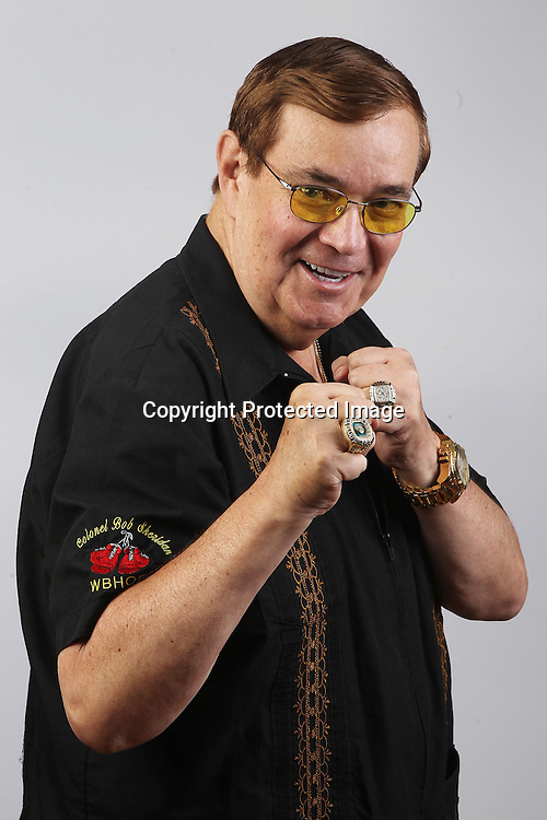 Portrait session of Colonel Bob Sheridan, boxing commentator. Photosport Studio, Auckland. 8 October 2013. Photo: William Booth/www.photosport.co.nz
