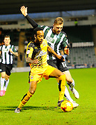 Cambridge Utd's Cameron Gayle and Plymouth Argyle's Ryan Brunt during the Sky Bet League 2 match between Plymouth Argyle and Cambridge United at Home Park, Plymouth, England on 12 December 2015. Photo by Graham Hunt.