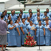 KVZK captured every note, as the employee choir added to the sophistication of the STP/TriMarine Cannery Innauguration ceremonies and festivities, Satala, Tutuila, American Samoa. 1/24/15,  Photo by Barry Markowitz.