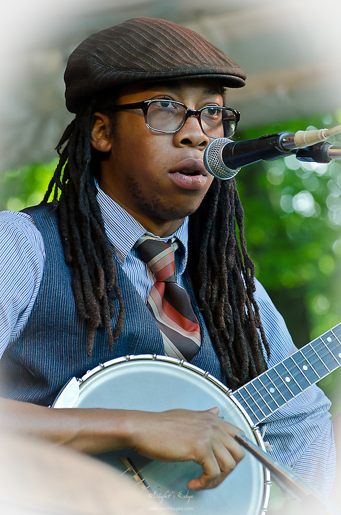 Hubby Jenkins of The Carolina Chocolate Drops on banjo during the 2012 Appel Farm Arts & Music Festival.