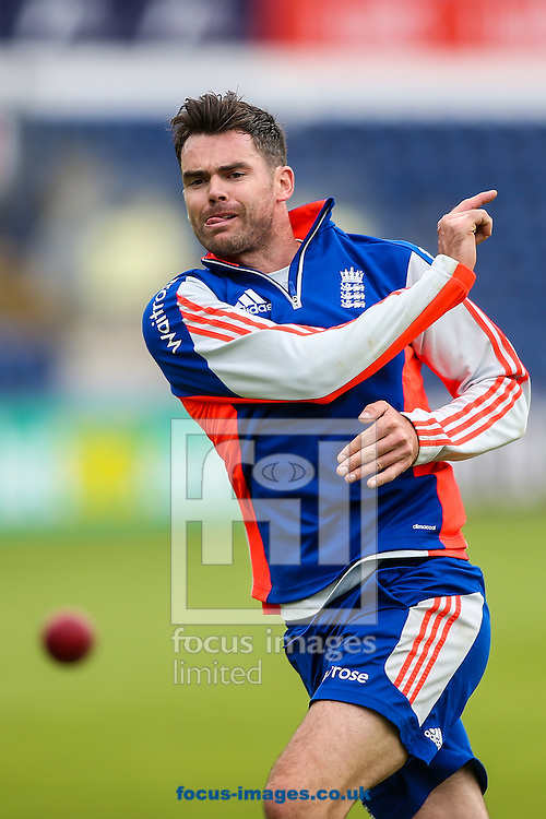 James Anderson of England during the England Cricket Practice before the first Test Match of the Investec Ashes Series at Sophia Gardens, Cardiff<br /> Picture by Andy Kearns/Focus Images Ltd 0781 864 4264<br /> 07/07/2015